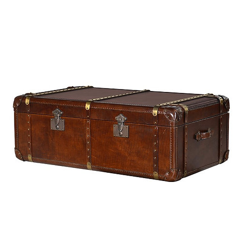 Luxury Leather Steamer Trunk Coffee Table