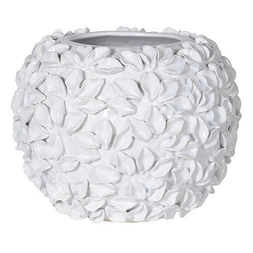 White Flower Ball Vase