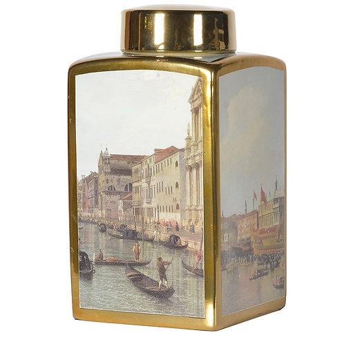 Small Venice Pictorial Square Jar