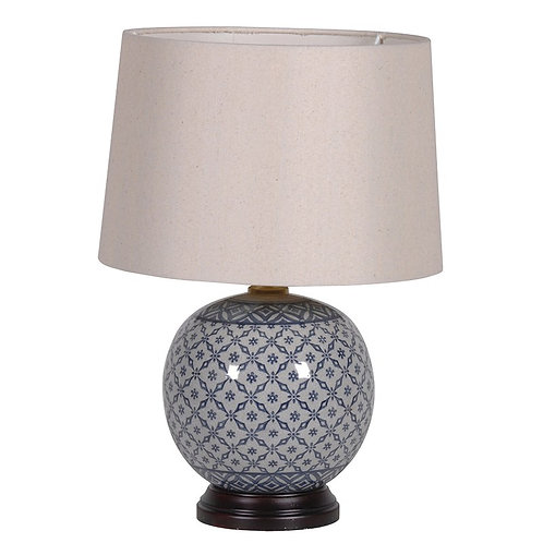 Round Blue Patterned Base Lamp with Shade