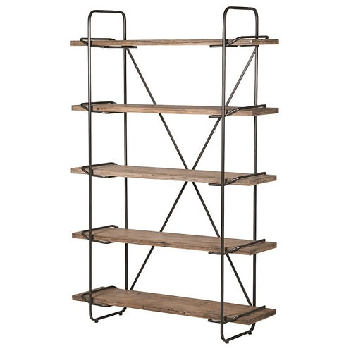 Fir Wood and Iron Tall Shelf Unit