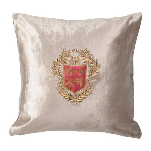 Silver Cushion Cover with Zardozi Style Embroidery