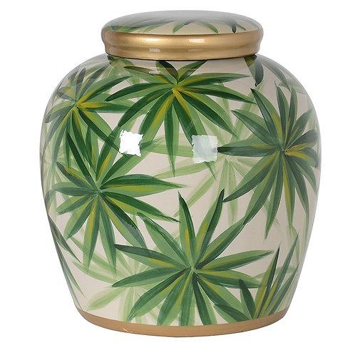 Green Palm Leaf Ginger Jar