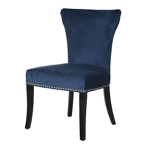 Blue Dining Chair with Silver Studs
