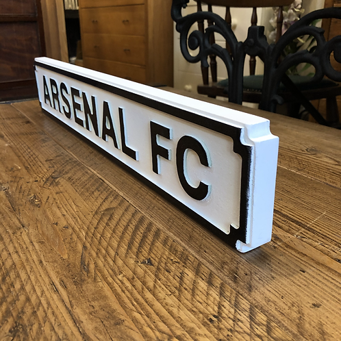 Arsenal FC Small Sign - White & Black