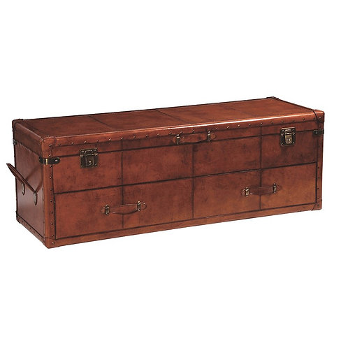 Jaipur Leather Long Trunk with Drawers
