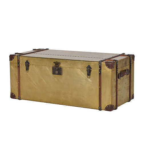 Large Brass Clad Trunk
