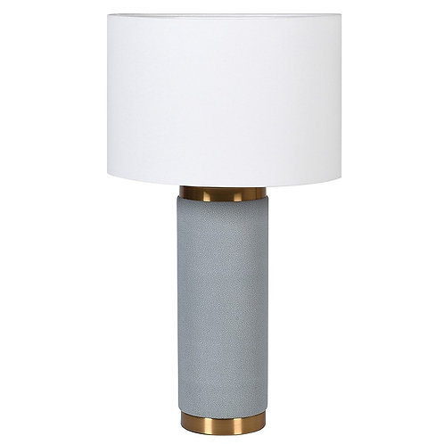 Blue Leather Lamp with White Shade