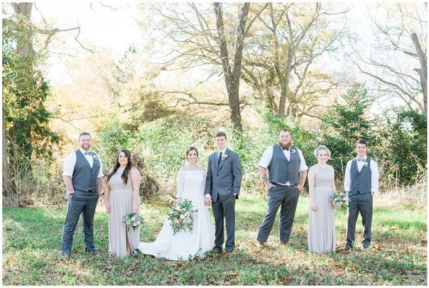 wedding party in woods