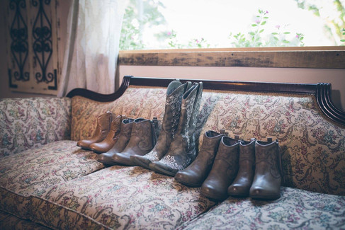 Boots on sofa |The Wedding Barn at L'Horne