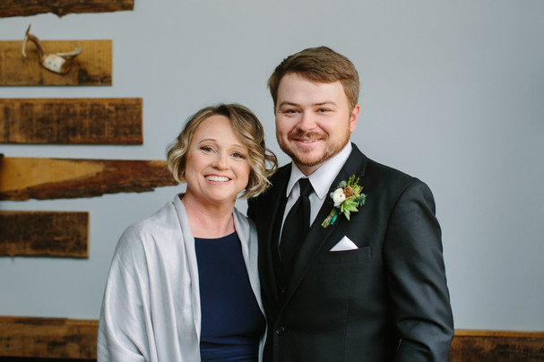 Nathan and Mom in groom's room