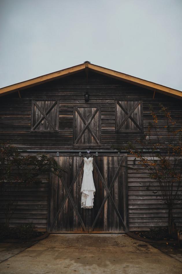 dress haning on main barn doors