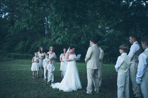 Bride saying vows | The Wedding Barn at L'Horne