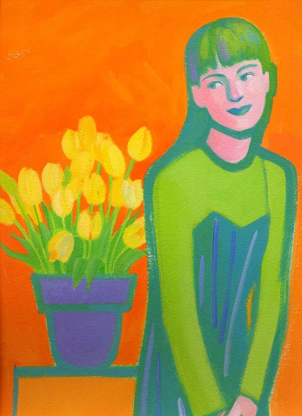 yellow tulip and girl