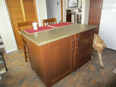 cherry cabinet island with seating