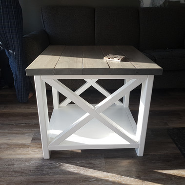 rustic x side table