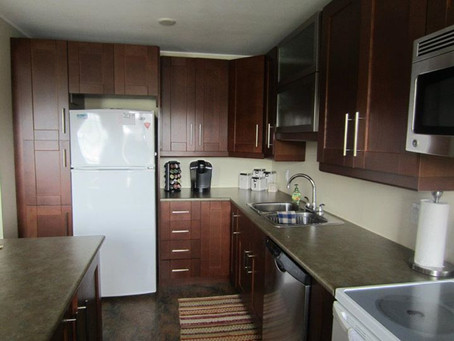 cherry shaker cabinets with stainless steel handles