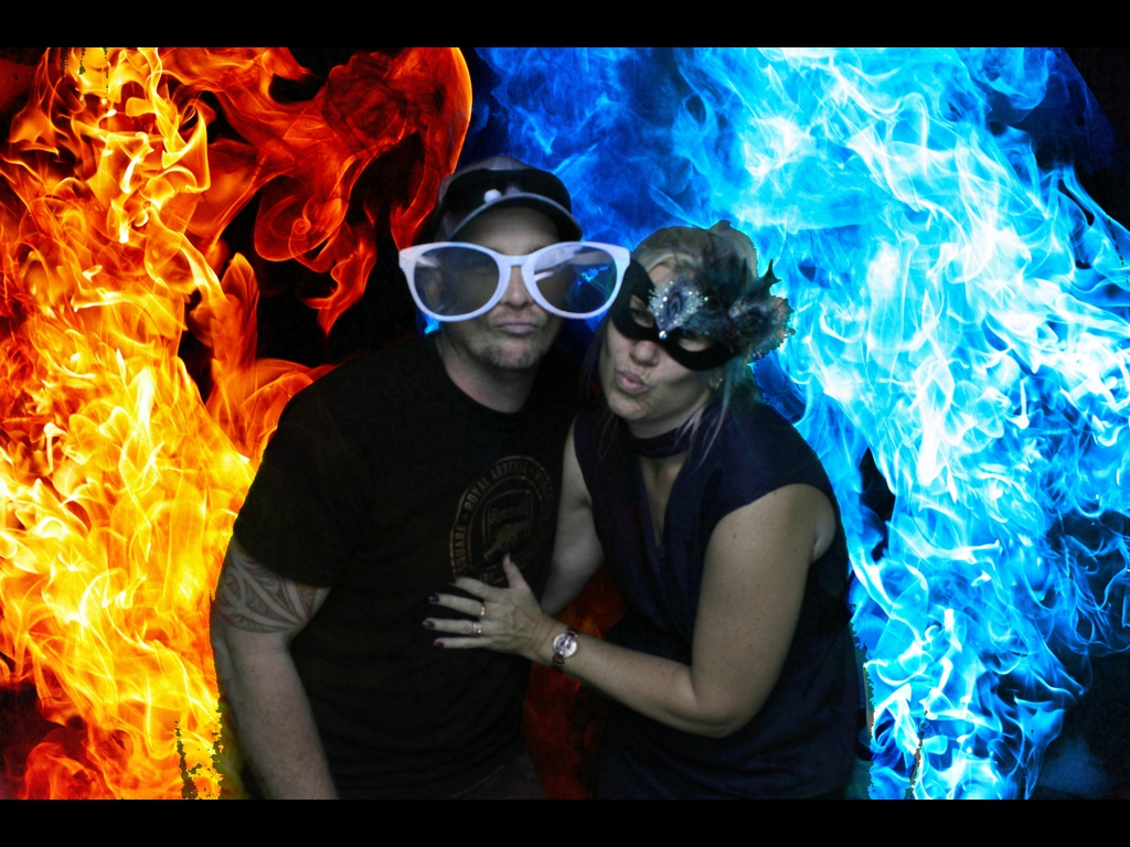 On fire! in the Green Screen Booth