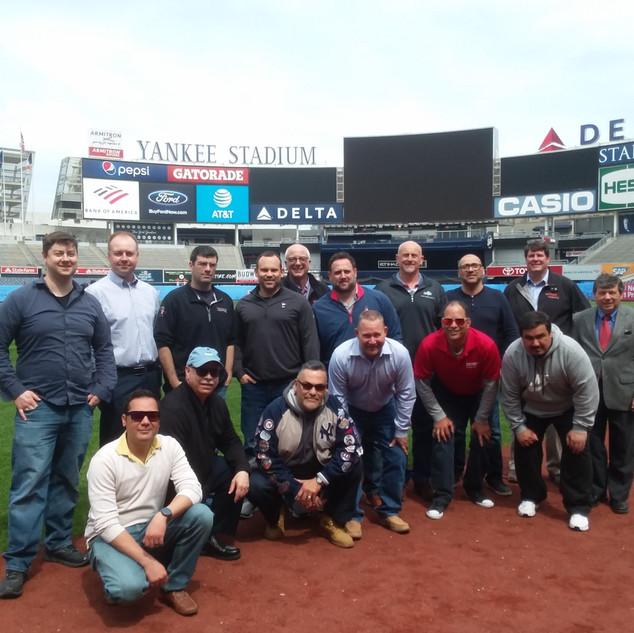 NYSCMA Members along 1st Base Line