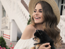 Fashionable Girl with Pomeranian