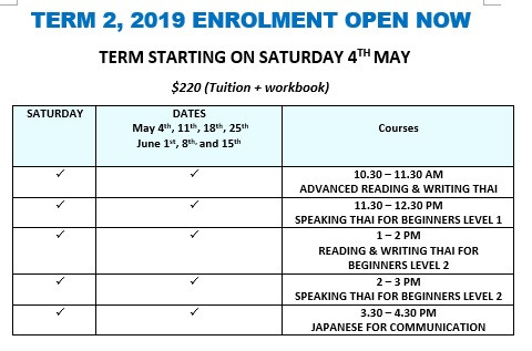 Enrollment for term 2, 2019 open now
