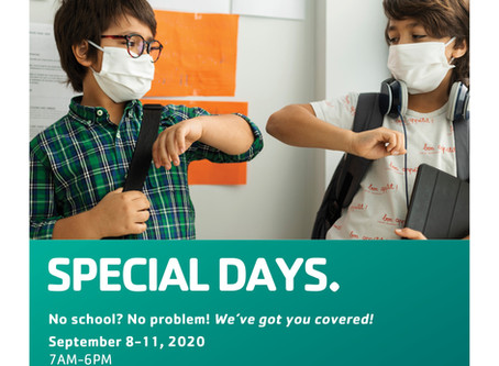 Special Days Available Sept. 8-11