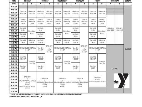 Gymnasium Schedule