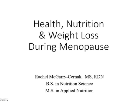 Health, Nutrition & Weight Loss During Menopause