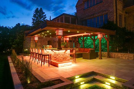 Landscape, Design-Build, Landscaping, Lighting, Bar, Pergola, Des Moines, Iowa, IA, Urbandale, Waukee, Johnston, Grimes, Ankeny, Ames, West Des Moines, Fire Pit, Planting, Landscaping, Retaining Walls, Pools
