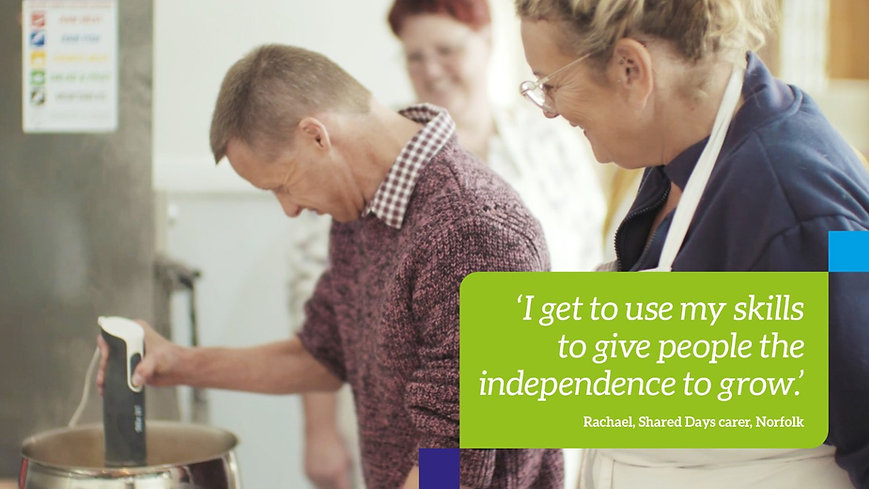 Shared Lives carer supports someone to cook
