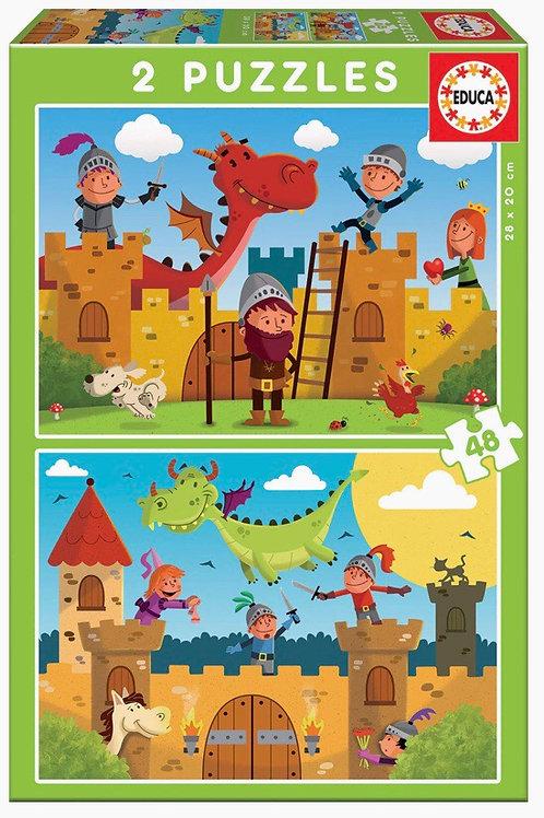 PUZZLE EDUCA 2X48 DRAGONES Y CABALLEROS