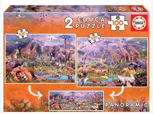 PUZZLE EDUCA 2x100 ANIMALES SALVAJES
