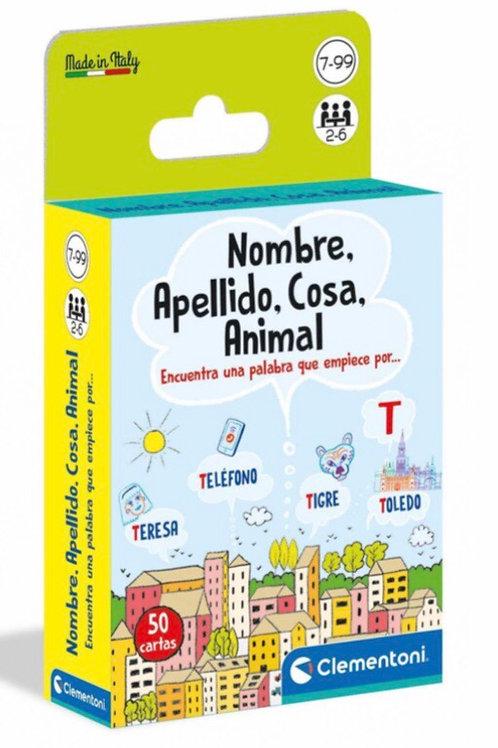 JUEGO CARTAS NOMBRE, APELLIDO, COSA, ANIMAL