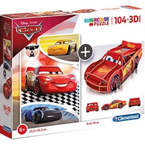 PUZZLE CLEMENTONI 104 PIEZAS CARS+3D