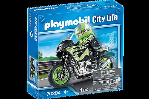 PLAYMOBIL 70204 MOTORISTA CON MOTO