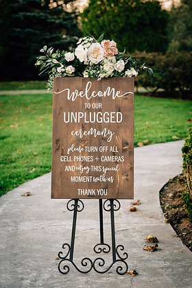 Unplugged Ceremony Sign Wood