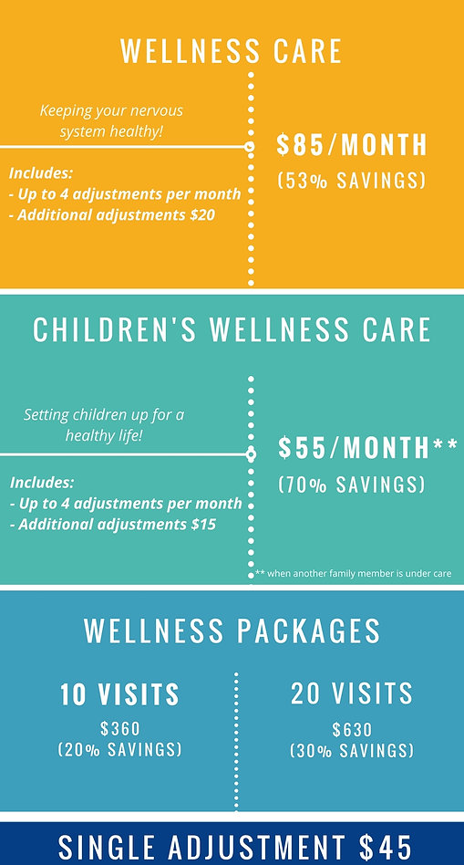 Monthly membership plans fo chiropractic adjusments at Complete Health Chiropractic Littleton. Adult wellness care and childrens wellness care.