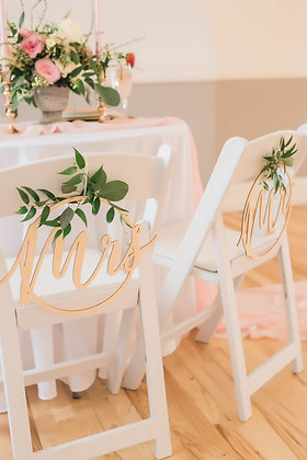Gold Mr & Mrs Chair Signs