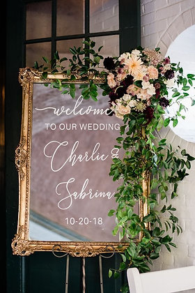 Custom Gold Mirror Welcome Sign