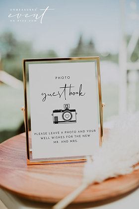 Gold Framed Photo Guest Book Sign