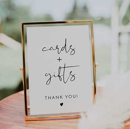 Gold Framed Cards and Gifts Sign