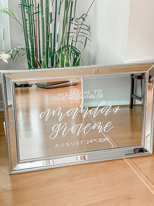 Silver Wedding Welcome Mirror
