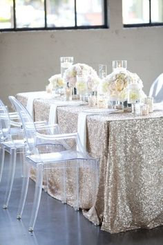 Sequin Tablecloth Silver