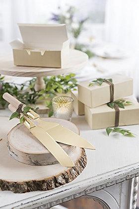 Gold & Wood Cake Cutting Set