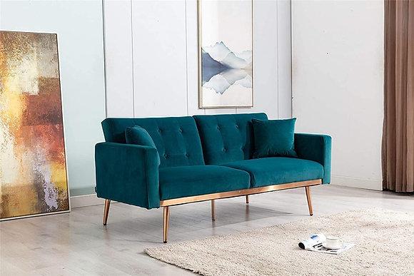 Turquoise Velvet Settee