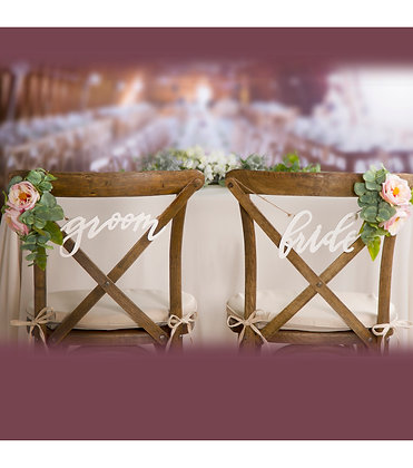 White Bride and Groom Chair Sign