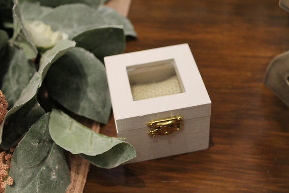 White & Burlap Ring Box