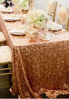 Sequin Tablecloth Rose Gold