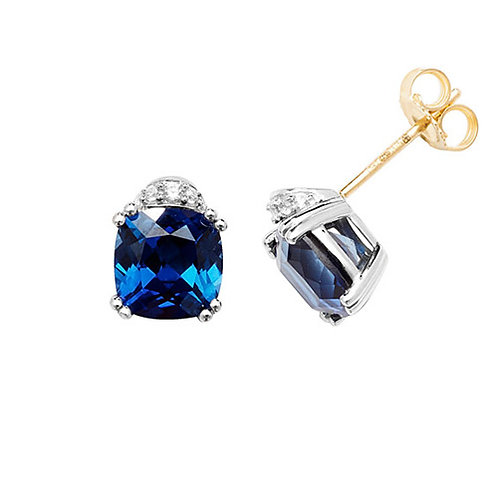 9CT YEL GOLD RH PLATED STUD EARRINGS CUSHION CREATED SAPPHIRE & WHITE SAPPHIRE
