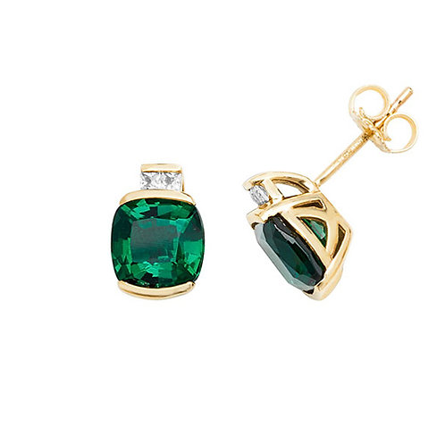 9CT YELLOW GOLD STUD EARRINGS CUSHION CREATED EMERALD & WHITE SAPPHIRE